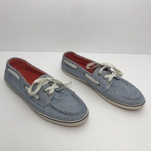 SPERRY Boat Shoes, Pinstriped Blue and White